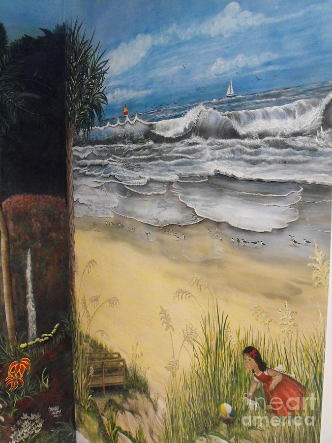 Beachfront mural painting by sandy hurst for Beach mural painting