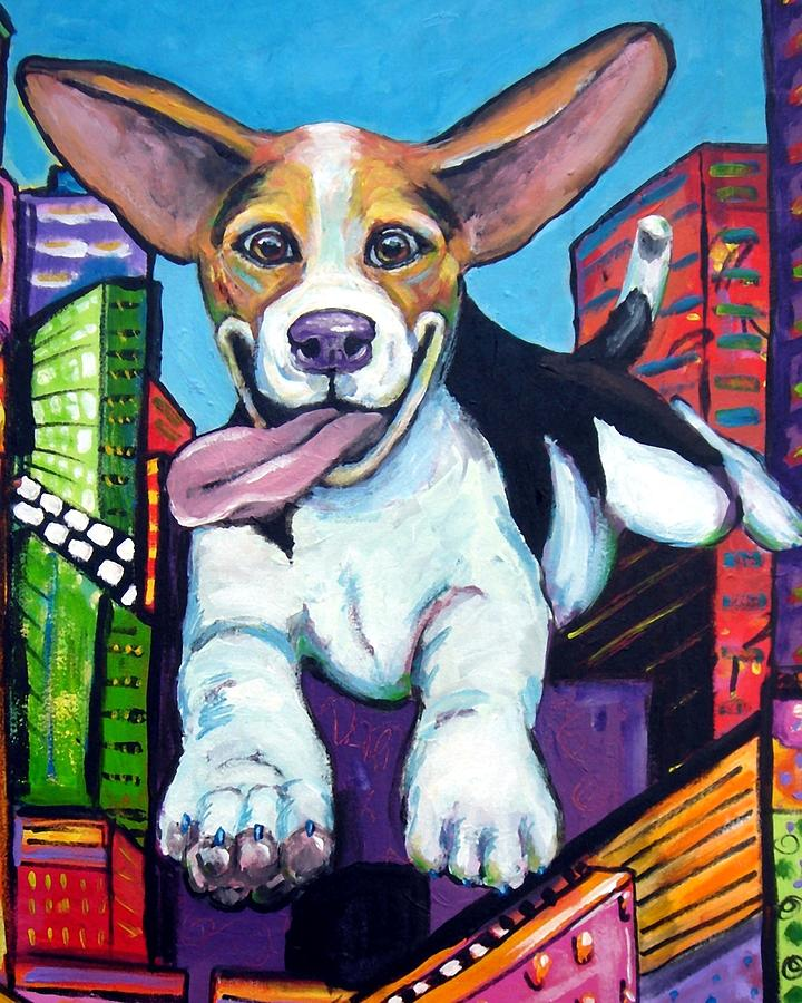 Beagle Painting - Beagle Flying Through City by Dottie Dracos