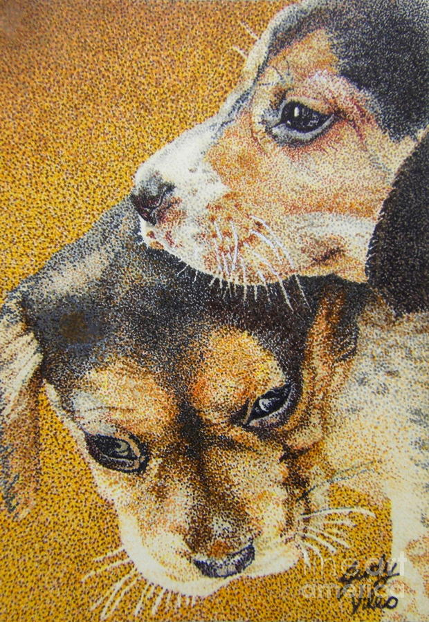 Beagle Puppies Drawing  - Beagle Puppies Fine Art Print