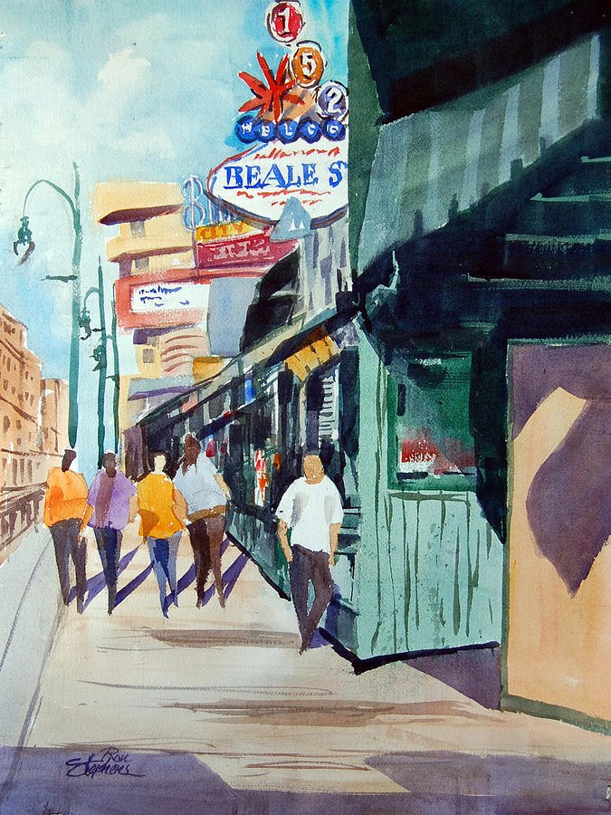 People Painting - Beale Street Visual Overload by Ron Stephens