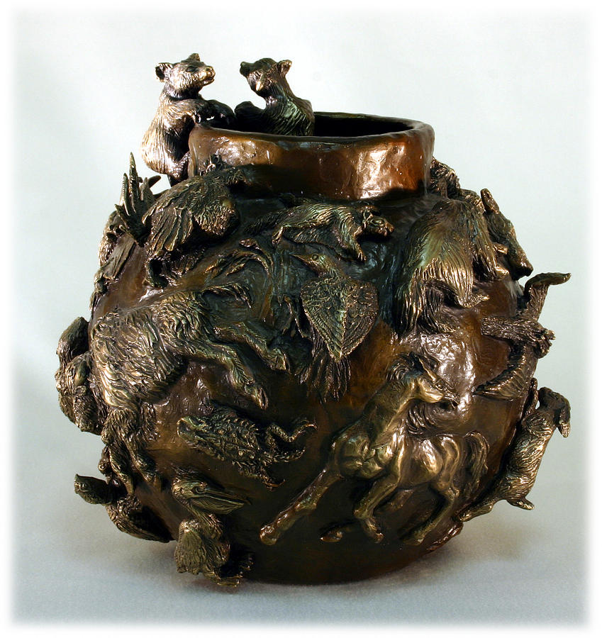 Bear Cub Bronze Bowl Sculpture