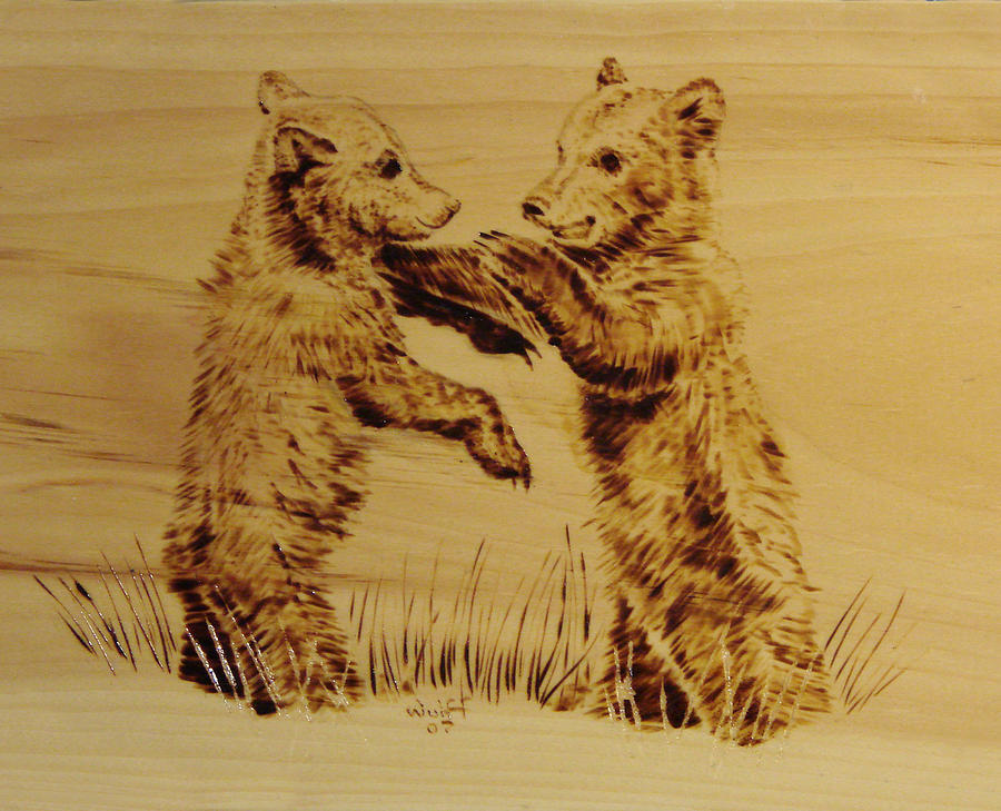 Bear Cubs Pyrography