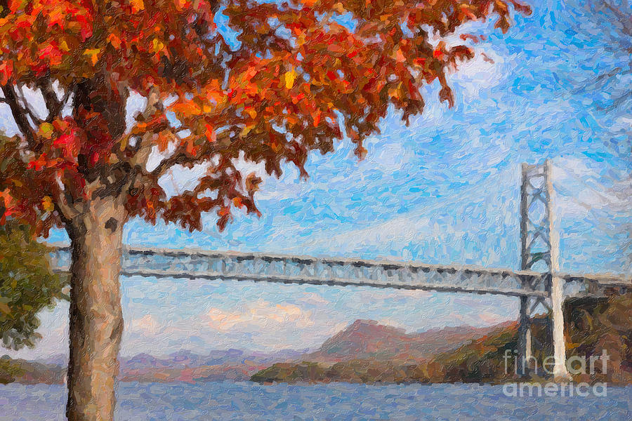 Bear Mountain Bridge Autumn Impasto Photograph  - Bear Mountain Bridge Autumn Impasto Fine Art Print