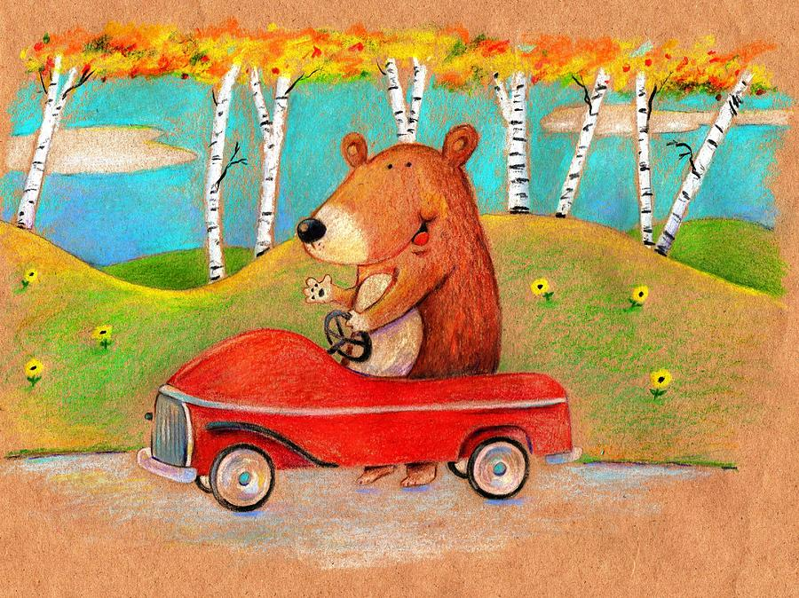 Bear Out For A Drive Drawing  - Bear Out For A Drive Fine Art Print
