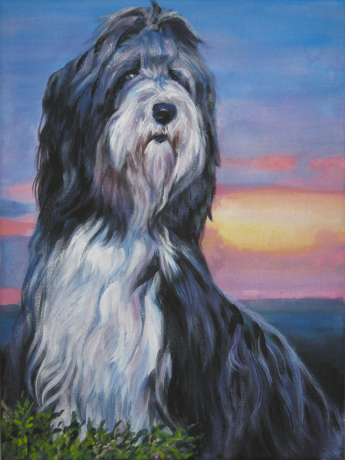 Bearded Collie Sunset Painting