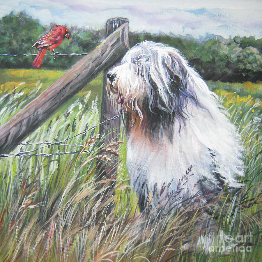 Bearded Collie With Cardinal Painting  - Bearded Collie With Cardinal Fine Art Print