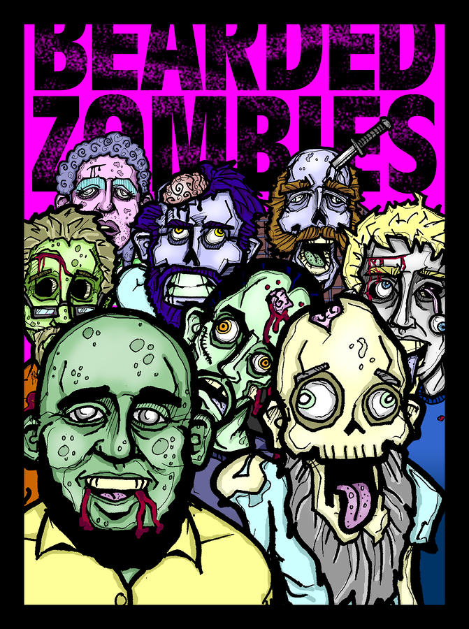 Bearded Zombies Group Photo Drawing  - Bearded Zombies Group Photo Fine Art Print