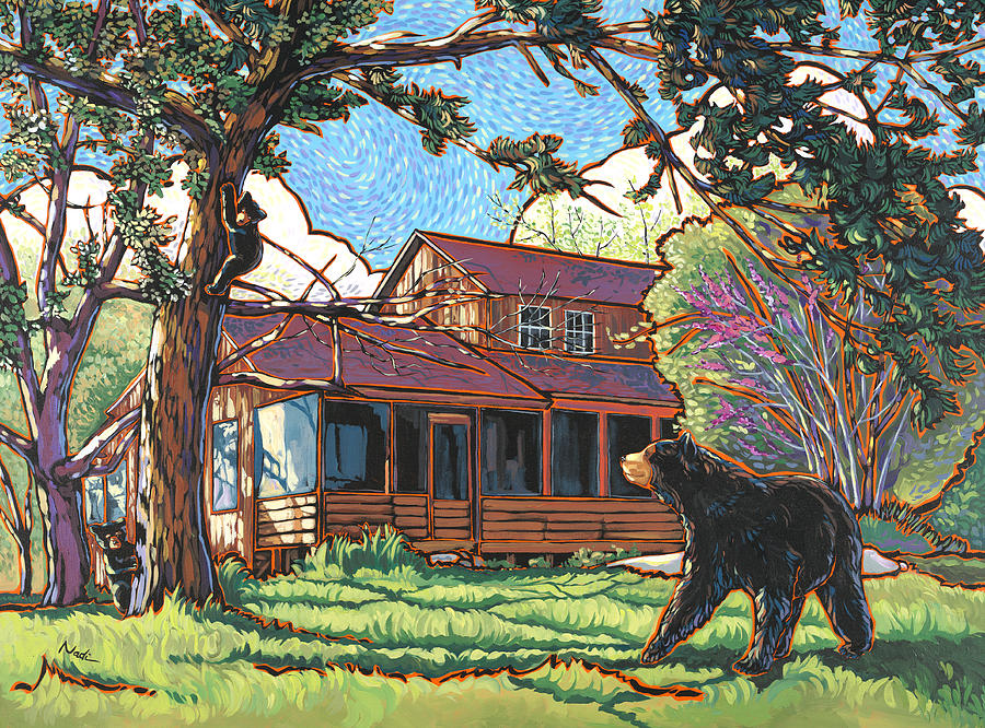 Bears At Barton Cabin Painting