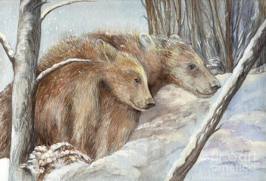 Bears In The Snow Painting