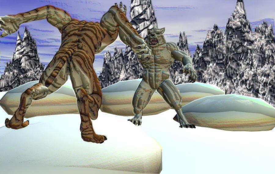 Beastcat Vs. The Yeti Mixed Media