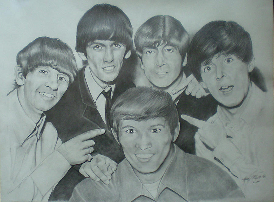 Beatles With A New Friend Drawing  - Beatles With A New Friend Fine Art Print