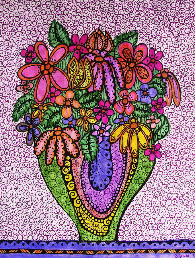 Beautiful Floral Imagination  Drawing