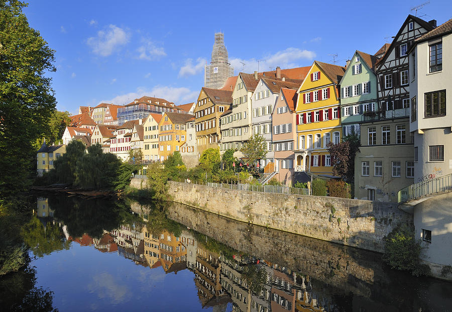 Beautiful German Town Tuebingen - Neckar Waterfront Photograph