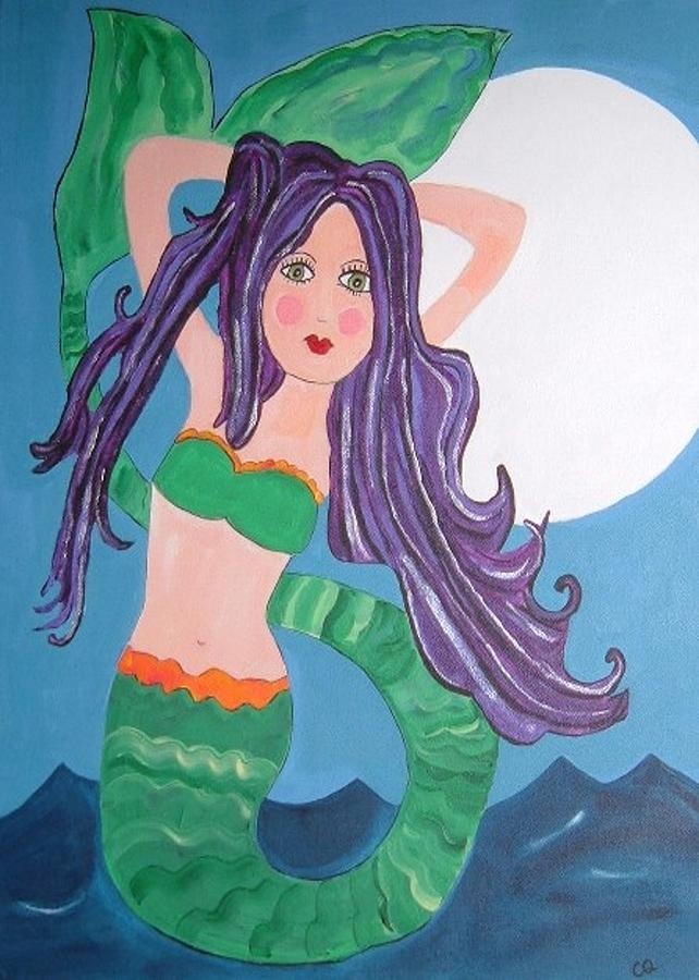 Beautiful Mermaid With Purple Hair Painting