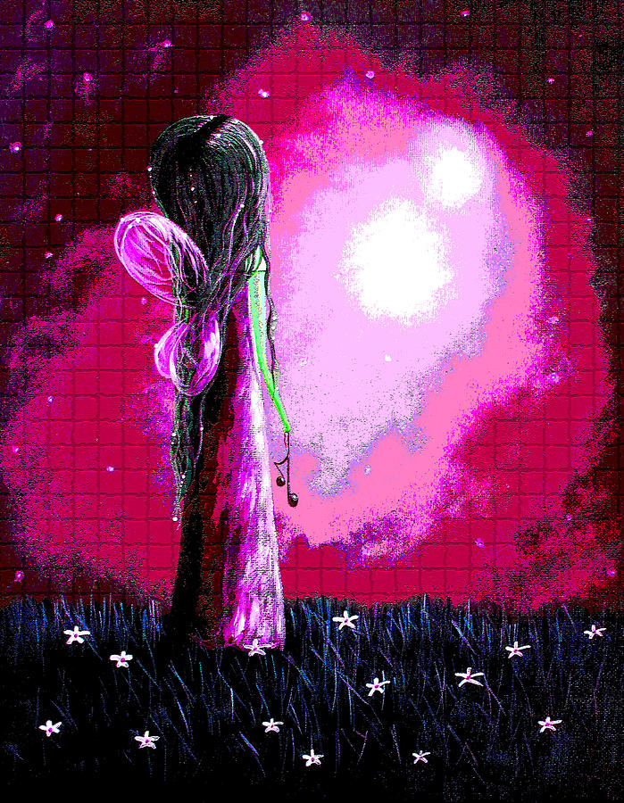 Beautiful Pink Angel Fairy By Shawna Erback Painting  - Beautiful Pink Angel Fairy By Shawna Erback Fine Art Print