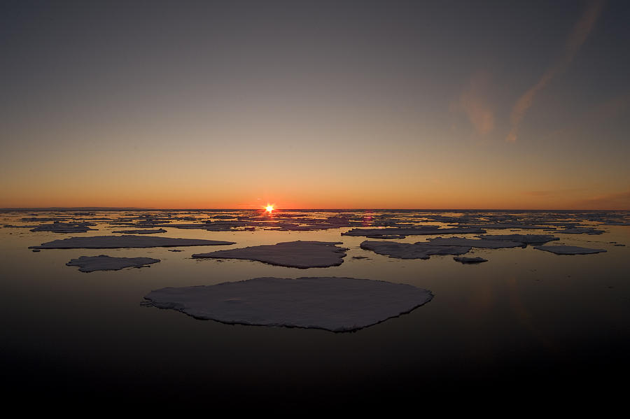 Beautiful Sunset Over An Arctic Ice Photograph
