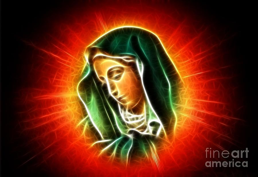 Beautiful Virgin Mary Portrait Photograph  - Beautiful Virgin Mary Portrait Fine Art Print