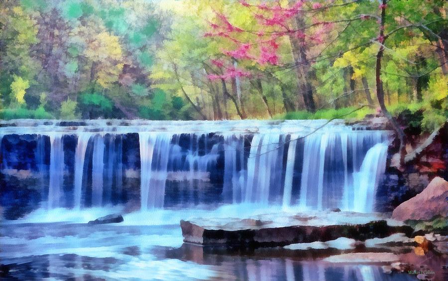 Beautiful Water Fall Digital Art By Walter Colvin