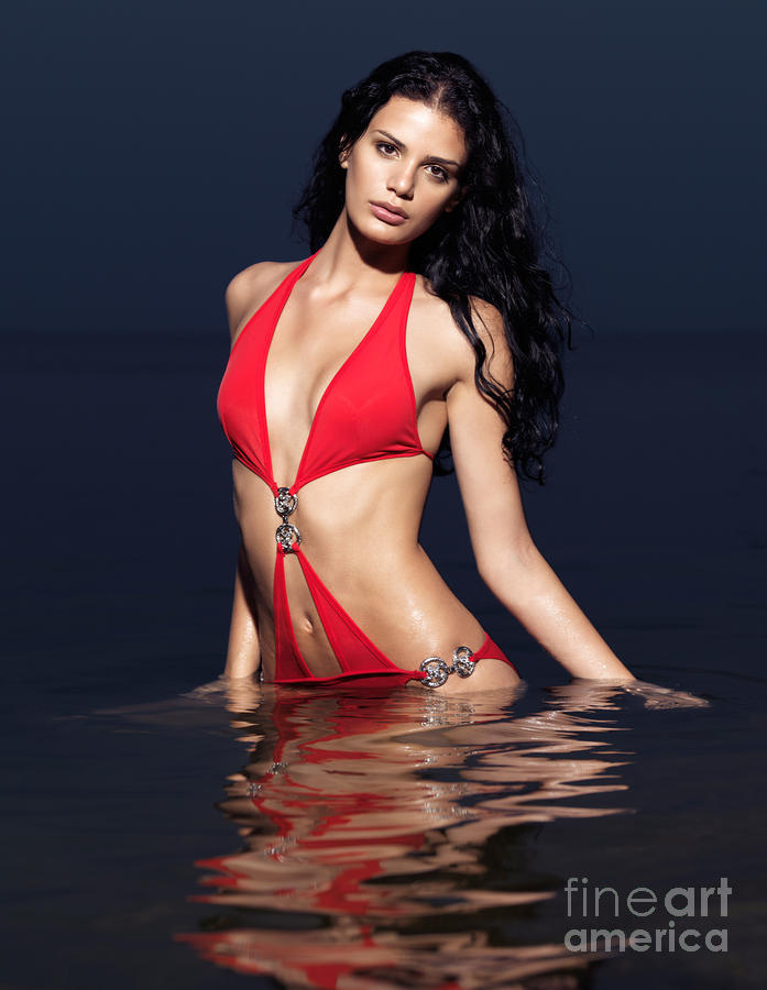 Beautiful Young Woman In Red Swimsuit Standing In Water Photograph  - Beautiful Young Woman In Red Swimsuit Standing In Water Fine Art Print