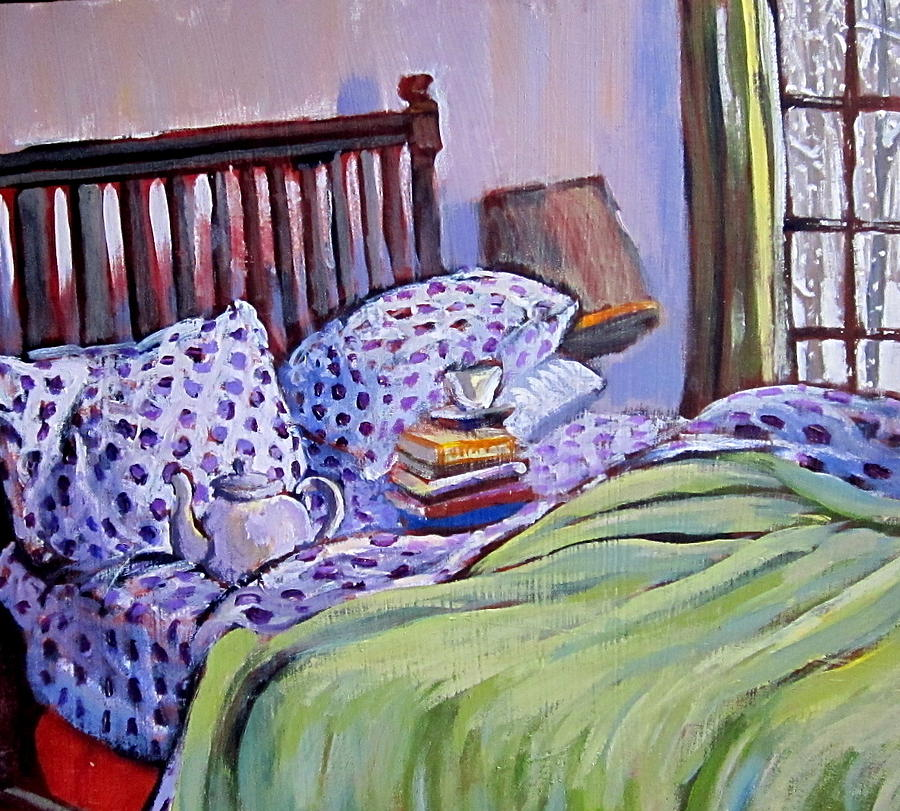 Bed Painting - Bed And Books by Tilly Strauss
