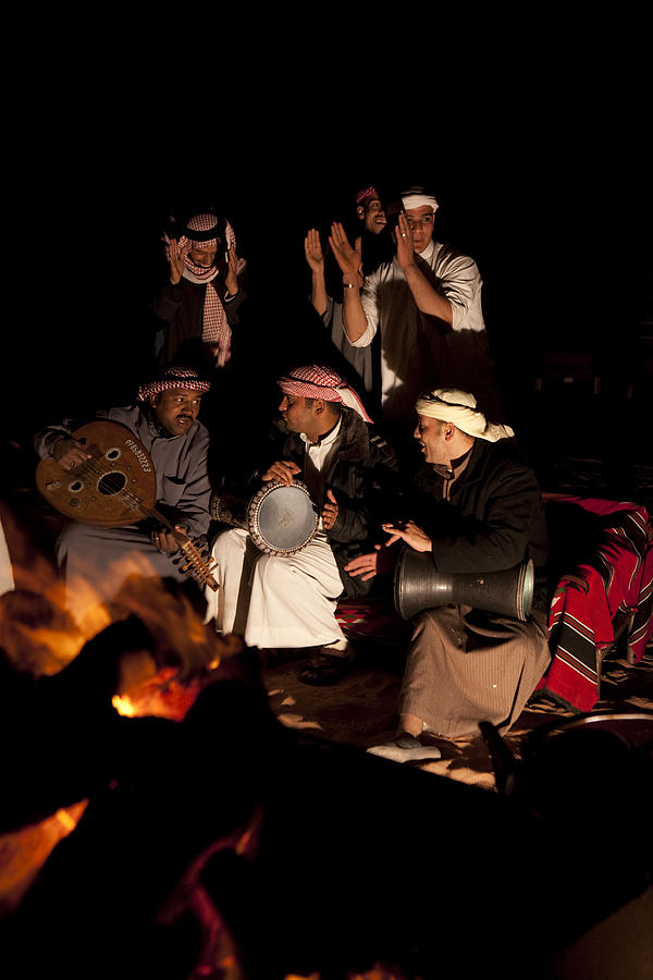 Bedouin Men Sing And Play Instruments Photograph  - Bedouin Men Sing And Play Instruments Fine Art Print