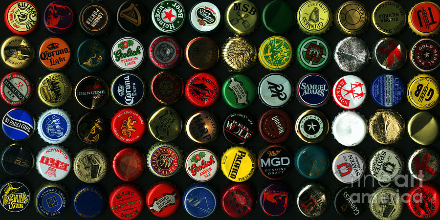 Beer Bottle Caps . 2 To 1 Proportion Photograph
