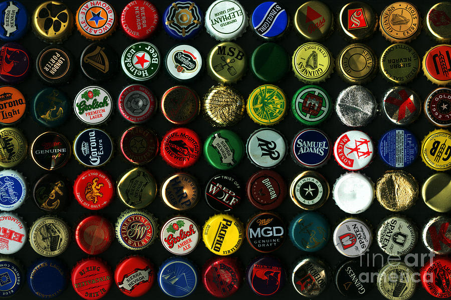 Beer Bottle Caps . 8 To 12 Proportion Photograph  - Beer Bottle Caps . 8 To 12 Proportion Fine Art Print