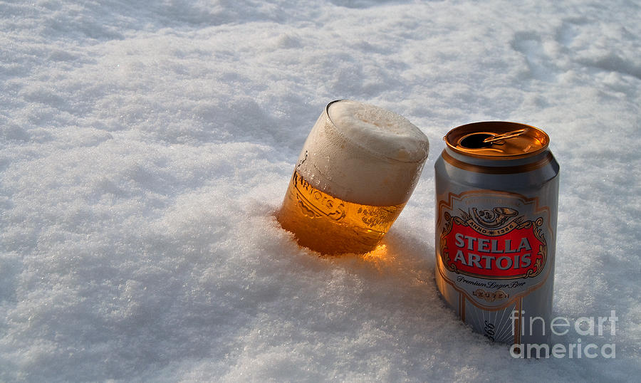 Beer In The Snow Photograph  - Beer In The Snow Fine Art Print
