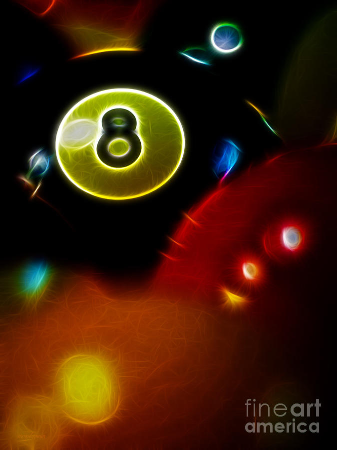 Behind The Eight Ball - Vertical Cut - Electric Art Photograph