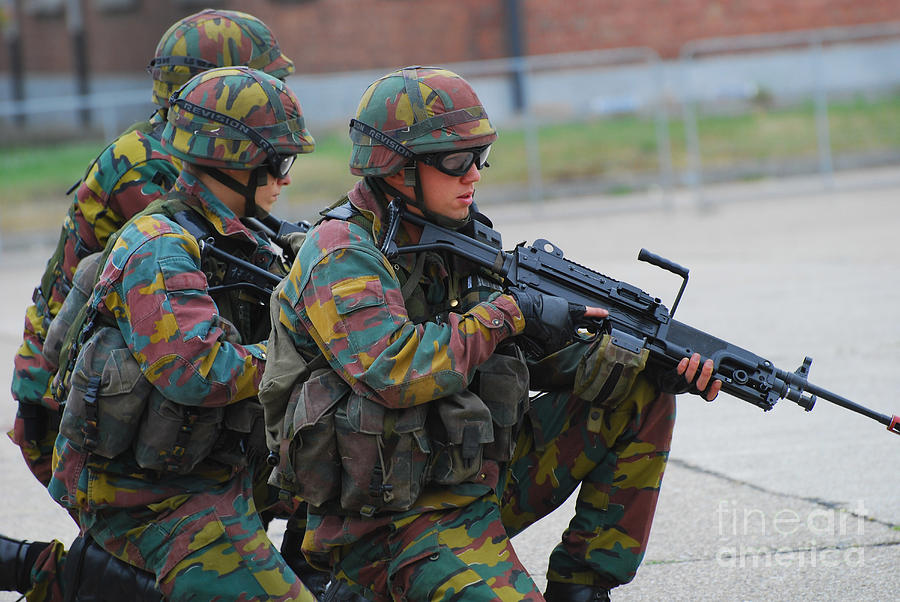 Belgian Infantry Soldiers In Training Photograph