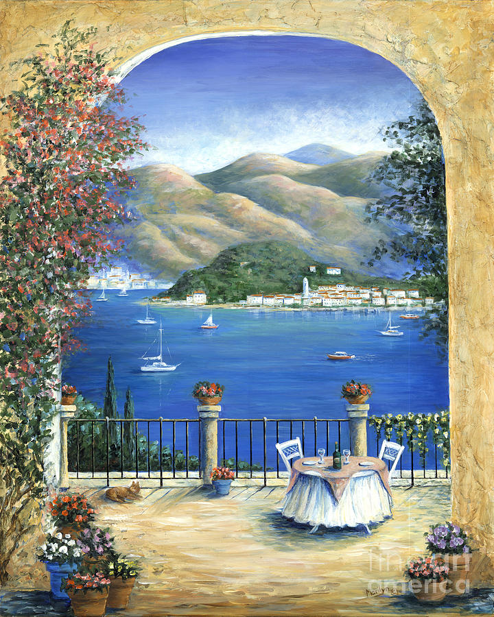Bellagio Lake Como From The Terrace Painting  - Bellagio Lake Como From The Terrace Fine Art Print