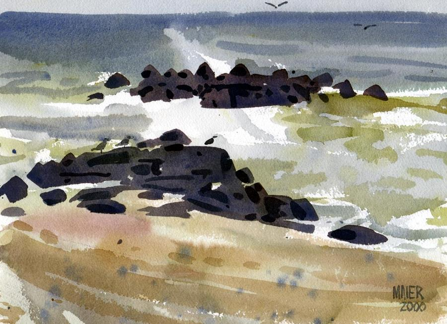 Belmar Jetty One Painting  - Belmar Jetty One Fine Art Print