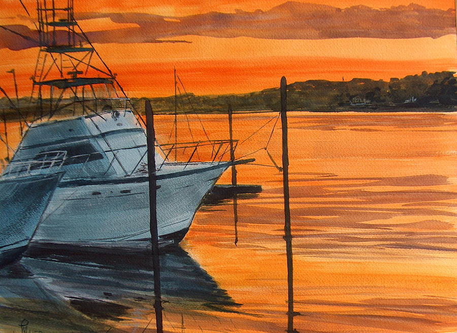 Sunset Painting - Belmar Marina by Pete Maier