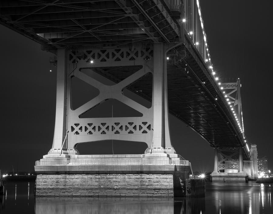 Ben Franklin Bridge Black And White Photograph