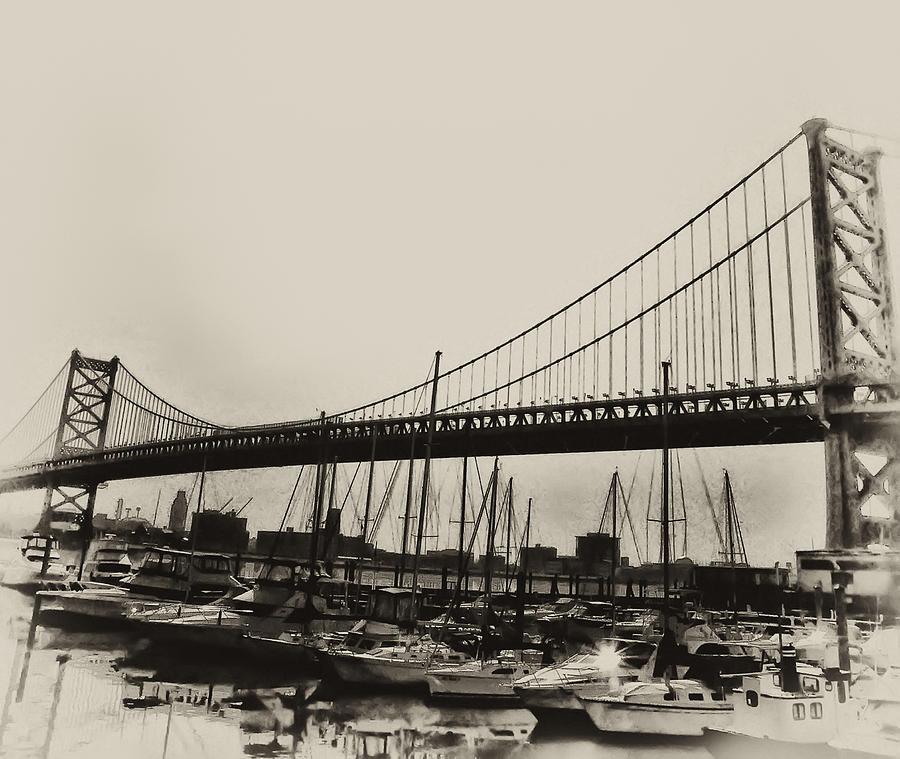 Ben Franklin Bridge From The Marina In Black And White. Photograph