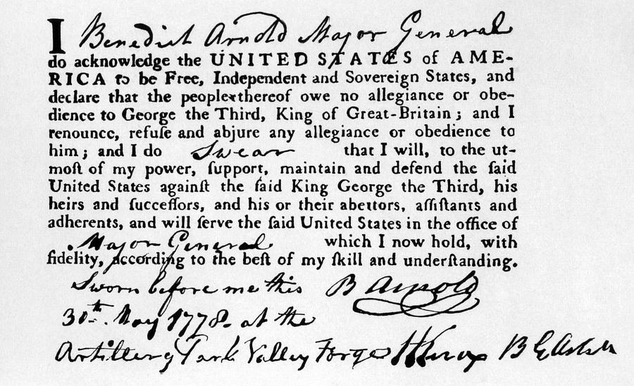 Benedict Arnolds Oath Of Allegiance Photograph