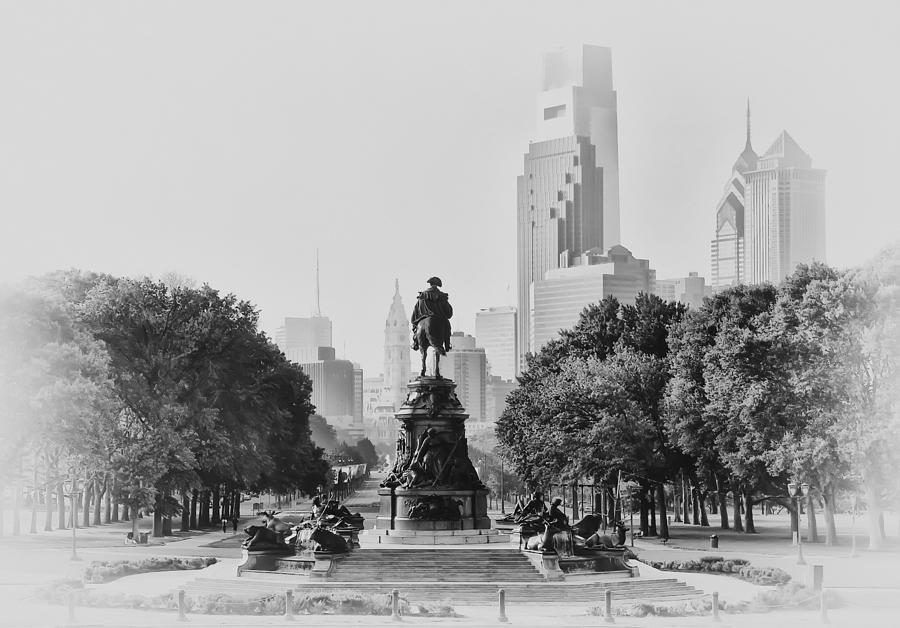 Benjamin Franklin Parkway In Black And White Photograph