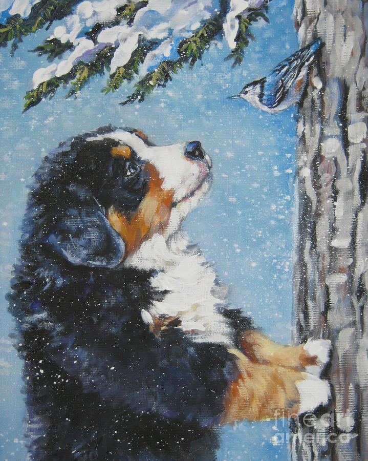 bernese Mountain Dog puppy and nuthatch Painting  - bernese Mountain Dog puppy and nuthatch Fine Art Print