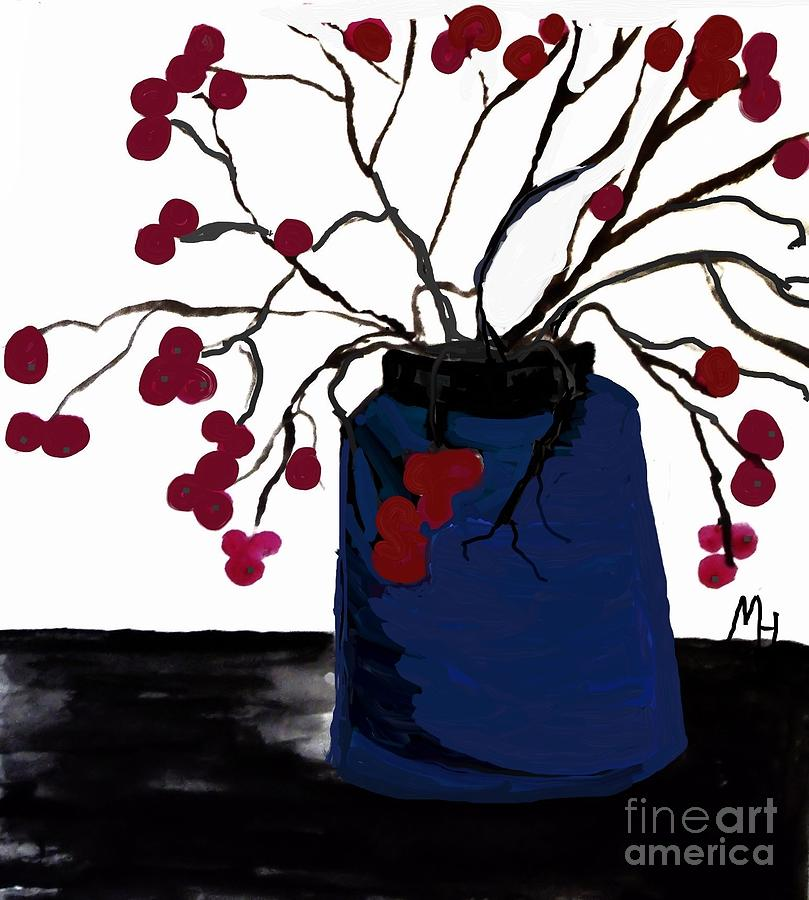 Berry Twigs In A Vase Painting  - Berry Twigs In A Vase Fine Art Print