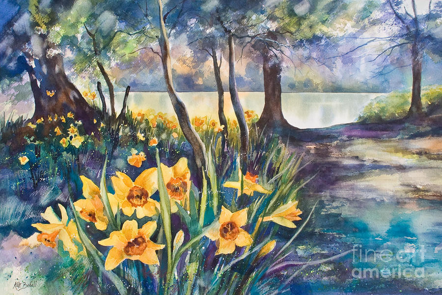 Beside The Lake Beneath The Trees. Painting  - Beside The Lake Beneath The Trees. Fine Art Print