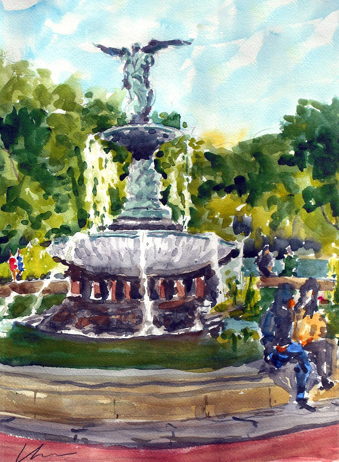 Bethesda Fountain At Central Park Painting  - Bethesda Fountain At Central Park Fine Art Print