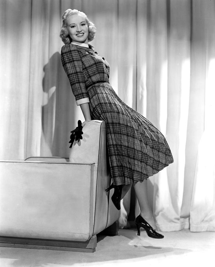 Betty Grable In Plaid, Pleated Sports Photograph