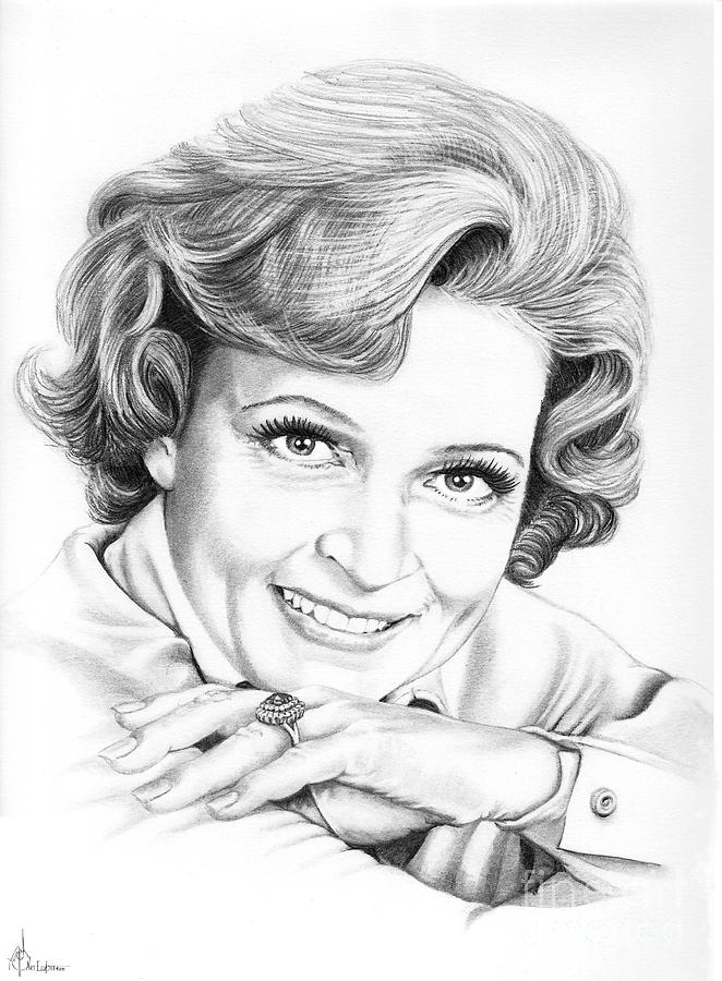 Betty White Drawing  - Betty White Fine Art Print
