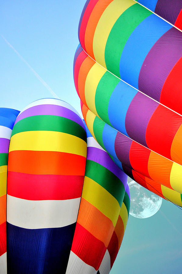Hot Air Balloon Photograph - Between Two Rainbows by Emily Stauring