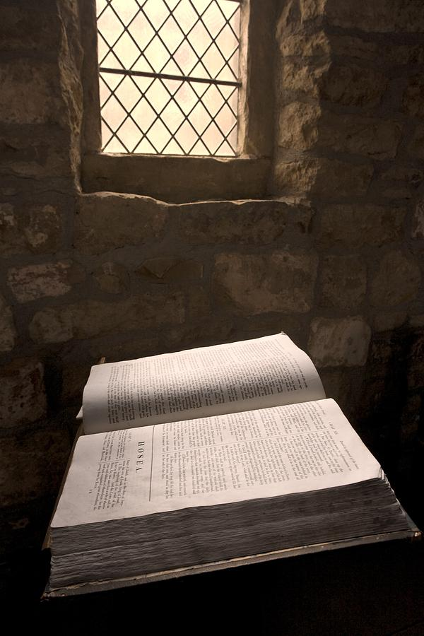 Architectural Detail Photograph - Bible In A Church, Rosedale, North by John Short