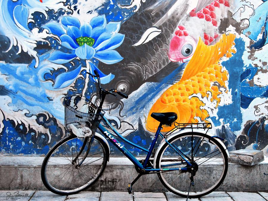 Bicycle Against Mural Photograph