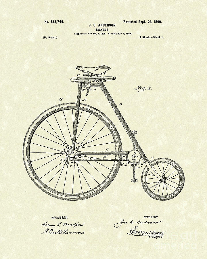 Bicycle Anderson 1899 Patent Art Drawing