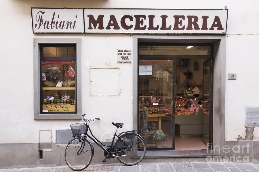 Bicycle In Front Of Italian Delicatessen Photograph  - Bicycle In Front Of Italian Delicatessen Fine Art Print