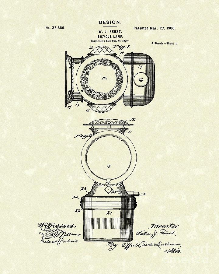 Bicycle Lamp Design 1900 Patent Art Drawing