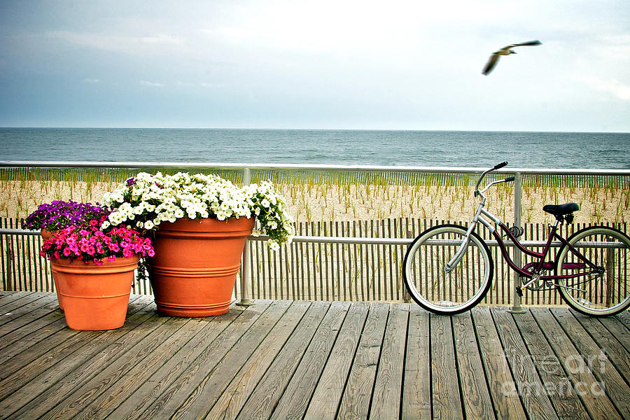 Bicycle On The Ocean City New Jersey Boardwalk. Photograph